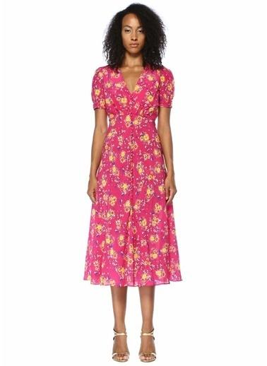 Saloni Çiçekli V Yaka Büzgülü Midi İpek Elbise Pembe